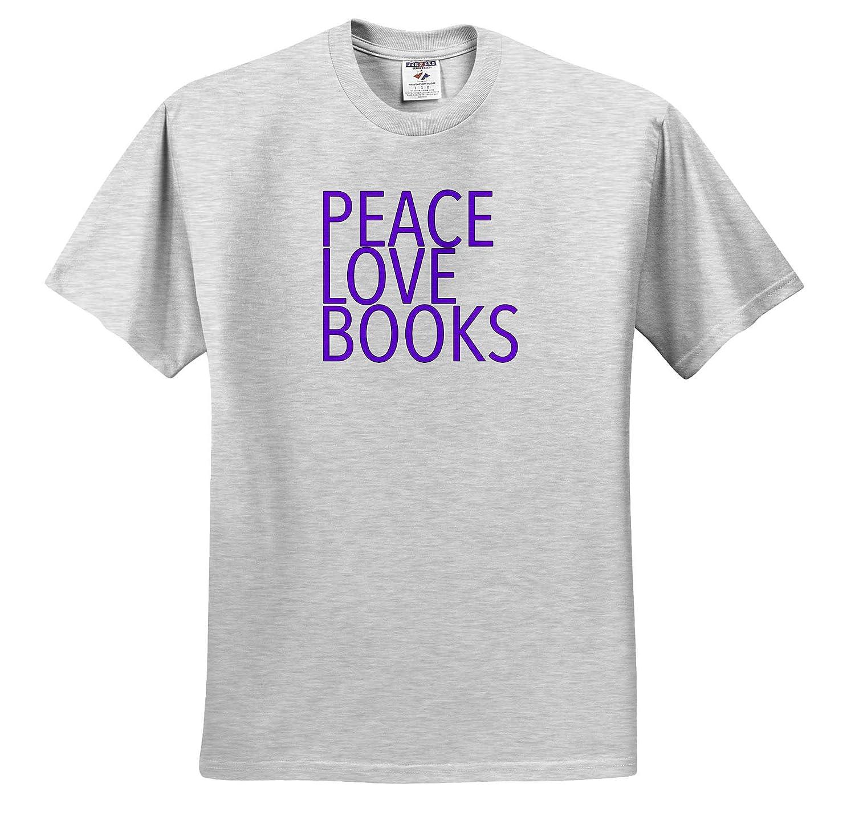 Peace Love Books Purple Inspirational Sayings ts/_310830 3dRose EvaDane Adult T-Shirt XL