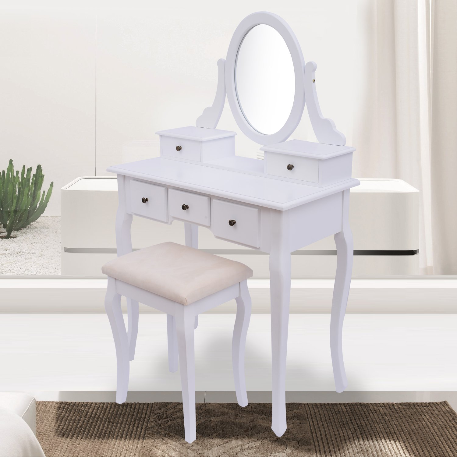 CLEARANCE HOMCOM Antique Style Shabby Chic Dressing Table With Vanity  Mirror U0026 Stool   White: Amazon.co.uk: Garden U0026 Outdoors
