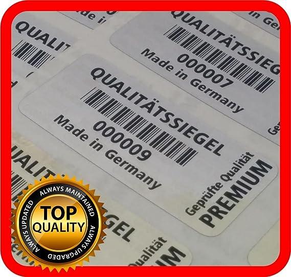 1000 pezzi sigillo di qualit/à 32 X 15 mm ologramma etichette garanzia sigillo di sicurezza adesivo GERMAN TEXT