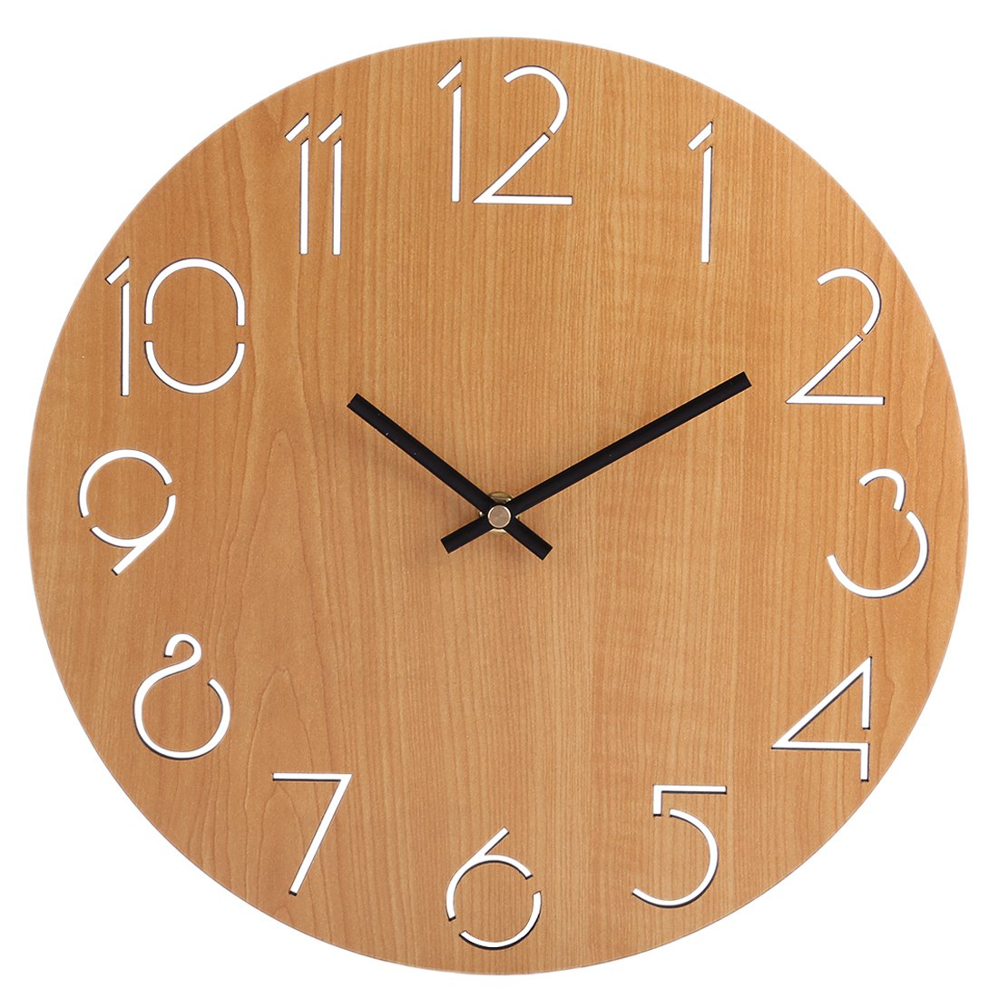Wall Clock Silent, XSHION Wood Wall Clock Battery Operated Non Ticking 12 Inch Decorative Wall Clocks Arabic Numerals Modern Design (Light Brown)