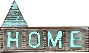 J JACKCUBE DESIGN Rustic Home Décor Signs Teal Shelf Distressed Wood Letters Wall Hanging Table Freestanding Words Art Plaque for Room Centerpieces - MK539A