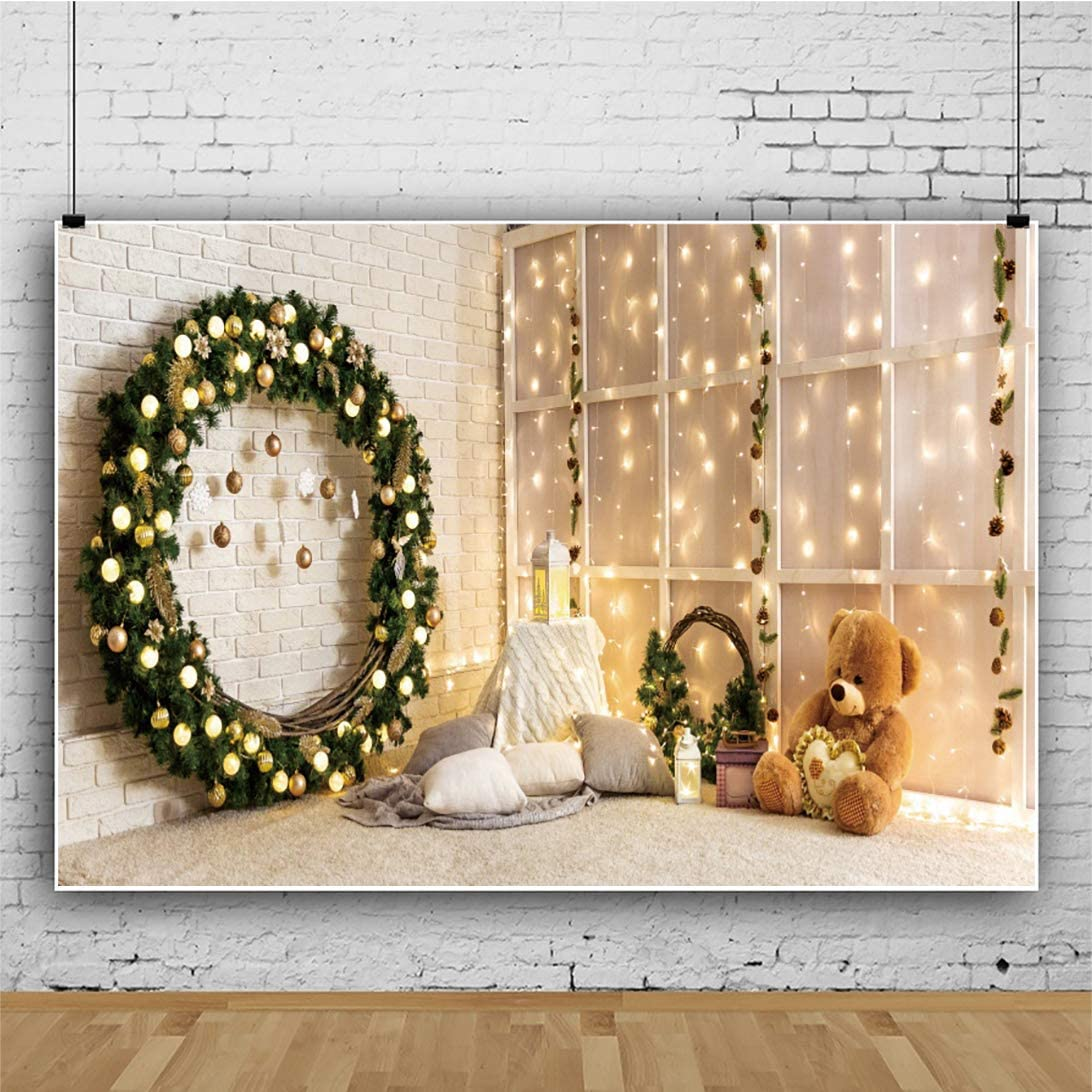 DaShan 12x8ft Christmas Living Room Backdrop Christmas Wall Christmas Wreath Decor Photography Background Xmas Garland Care Bears New Year Family Holiday House Interior YouTube Photo Props