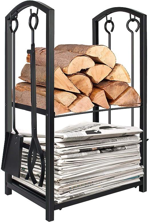 9-Bar Solid Steel Rod Fireplace Grate Log Holder Fire Wood Rack 36 in
