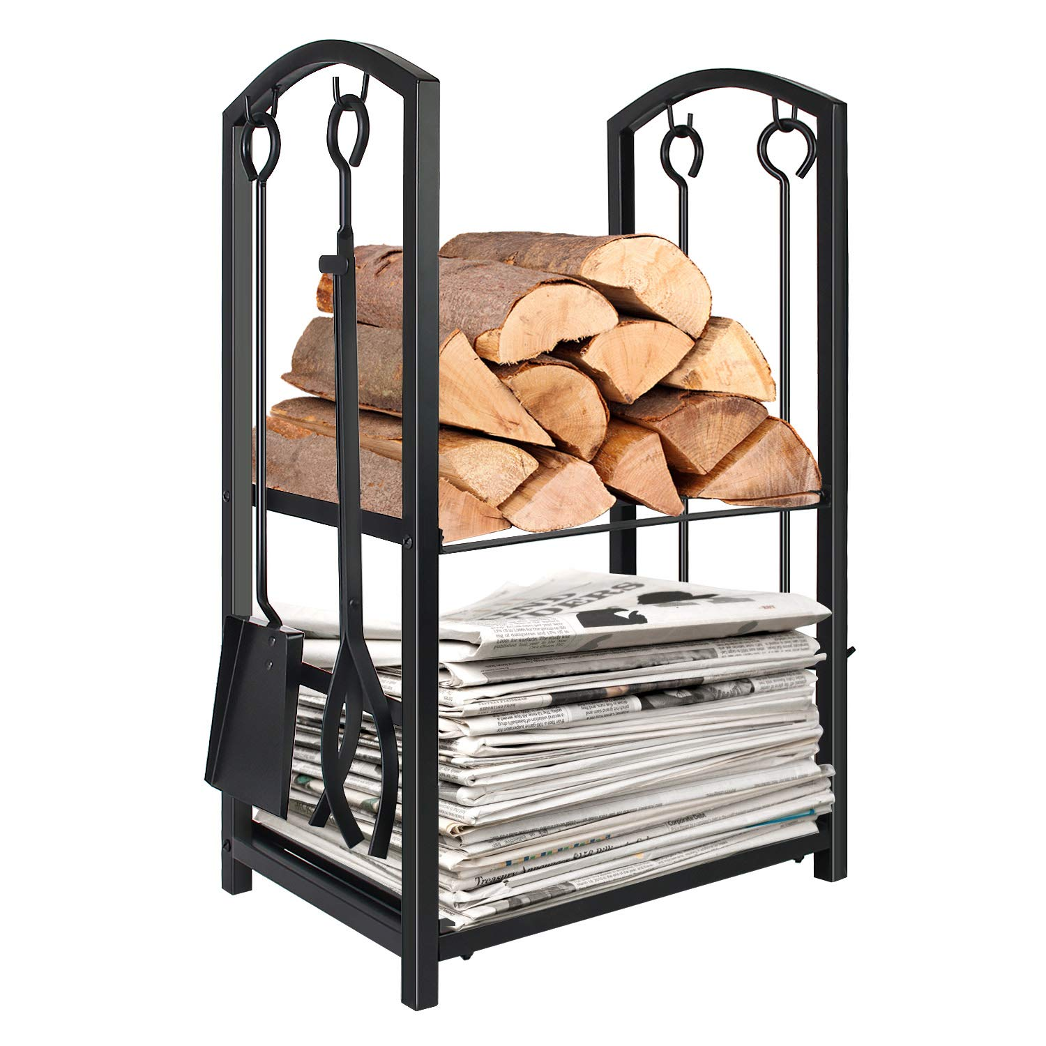WBHome Firewood Rack with 4 Tools - Iron Fire Log Holder Storage Set Includes Brush, Shovel, Poker, and Tongs, 17 x 29 x 12 inches, for Indoor/Outdoor by WBHome