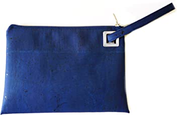 Natural Cork Wristlet Handbag Made in Portugal - Dark Blue