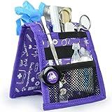Salvabolsillos, Keen's, Mobiclinic, Para bata o pijama, Diseño exclusivo con estampados en color morado, Amo la enfermería
