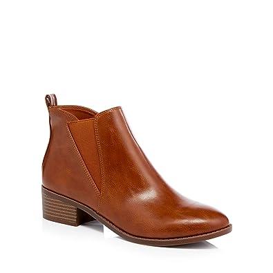 Tan 'Bunson' Block Heel Ankle Boots