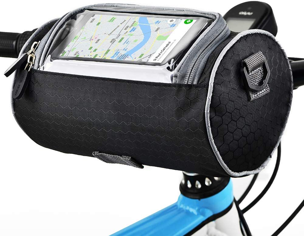 Urlite Adjustable and Removable Shoulder Strap Waterproof Bicycle Handlebar Bag with Transparent Pouch Touch Screen Mountain Bikes and Motorcycles Large-Capacity Front Pack for Road Bikes