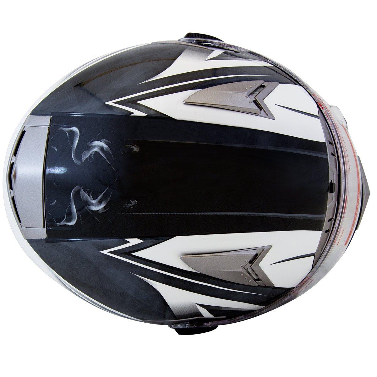 5de3c0b3 Mega Z Black White Dual Visor Street Bike Full Face Motorcycle Helmet DOT  (Large)