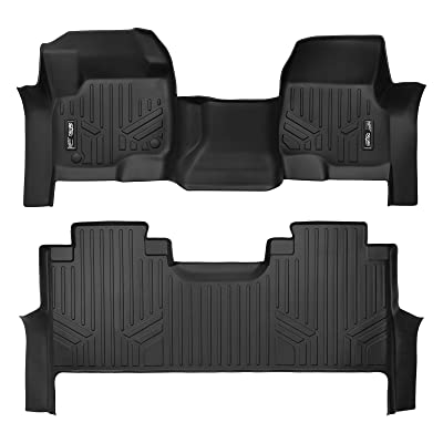 SMARTLINER Custom Floor Mats 2 Row Liner Set Black for 2020-2020 Ford F-250/F-350 Super Duty Crew Cab with 1st Row Bench Seat: Automotive
