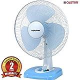 CASTOR T660F Premium Table Fan 55-Watt 3 Leaf, 406 mm, Silent Function and High Speed, White & Blue