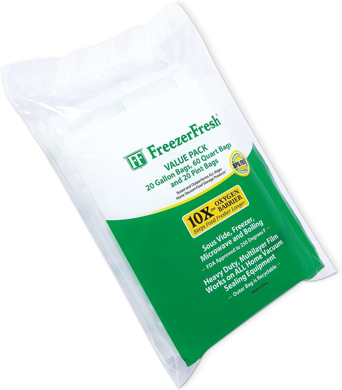 Value Pack - Bolsas individuales de sellado al vacío para congelador, galón, cuarto de galón y pinta Bolsas de almacenamiento de alimentos compatibles con FoodSaver, Sous Vide y más: Amazon.es: Salud y
