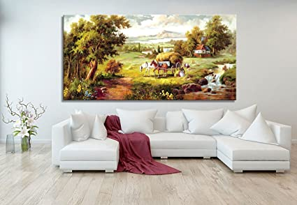 Wall Art Stretched Framed Ready Hang Farmland Landscape Modern Painting  Canvas Living Room Bedroom Office Wall