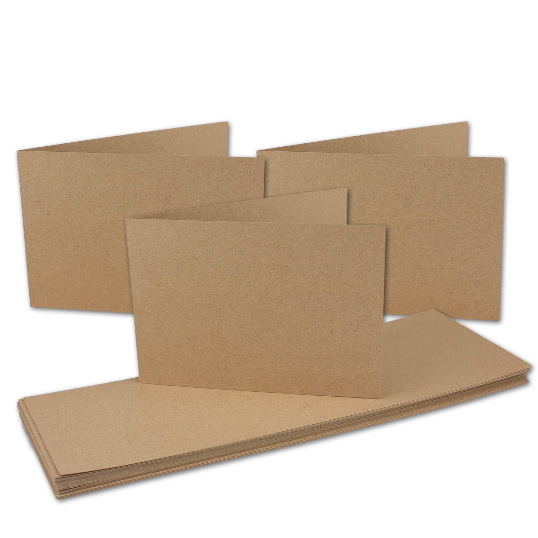 150x Vintage Kraftpapier Falt-Karten querdoppelt DIN A6-105 x 148 mm - sandbraun - Recycling - 240 g m² Klapp-Karten I UmWelt by Gustav NEUSER® B0774KW8WM   Kaufen