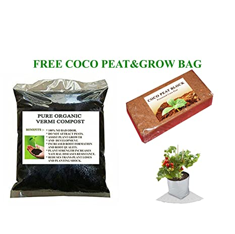 Organic Vermicompost for plants 5kg - Get free Grow bag for home garden and Coco Peat for Potting soil mix
