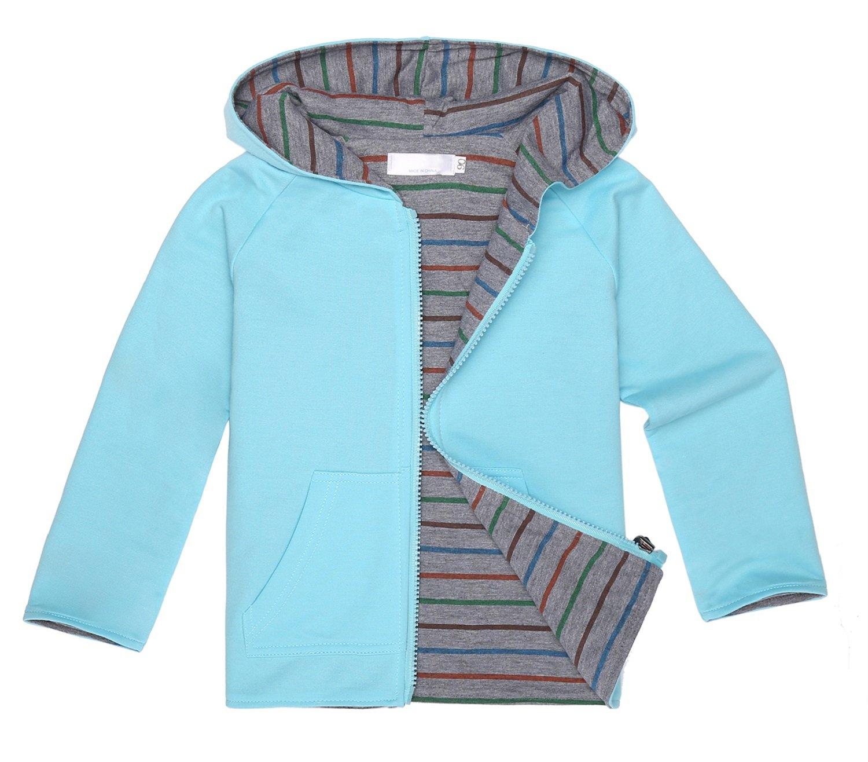 Arshiner Girls Stripe Reversible Hoodie Jacket Fleece Outwear Zip Coat