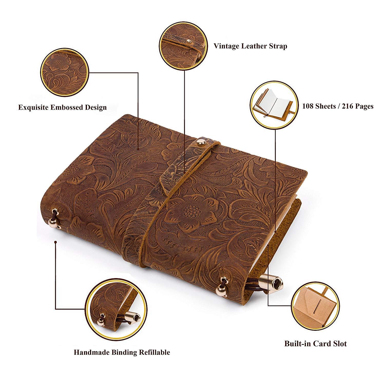 YoursTech Journal Intime A6 Rechargeable Cahier Bullet Journal en Cuir Carnet de Voyage Vintage Diary Bloc-Notes Cahiers de St/éno