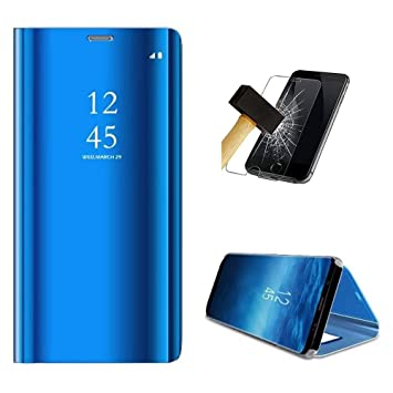 PANXIYUE Funda Xiaomi Redmi Note 7 / Note 7 Pro,Carcasa Espejo Mirror Flip Soporte Fund para Xiaomi Redmi Note 7 / Note 7 Pro(Azul)