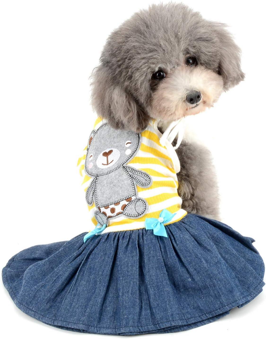 Zunea Hundeshirt f/ür kleine Hunde M/ädchen Jungen Weiche Baumwolle Sommer T-Shirts Gestreifte Welpen Kleidung Tank Top /Ärmellose Weste Hund T-Shirt Haustier Katzen Bekleidung Chihuahua Kleidung