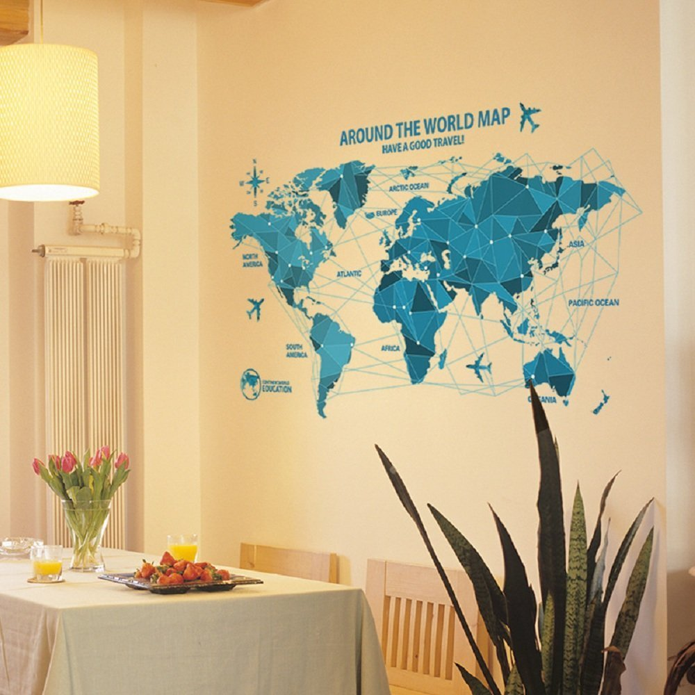 Amazon.com: LiveGallery Removable Blue Huge World Map Wall Decal ...