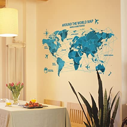 Amazon livegallery removable blue huge world map wall decal livegallery removable blue huge world map wall decal quotes around the word travel word map gumiabroncs Gallery