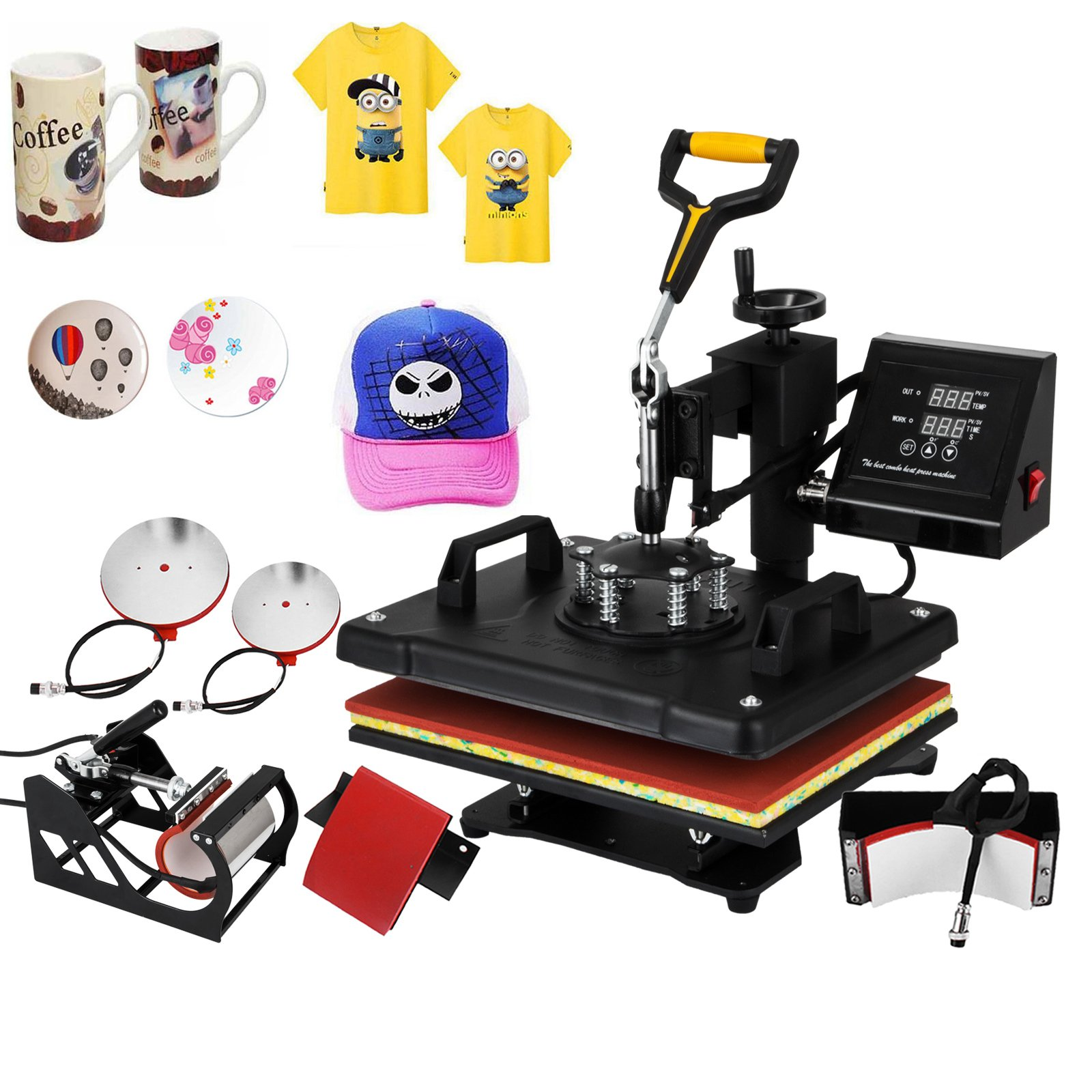 Happybuy Heat Press Machine 12x15 Inch 360 Degree Swing Away Heat Press 5 IN1 Multifunction Sublimation T Shirt Press Mug Cap Plate with Dual Digital Controller (5in1 15'' x 12'' Swing Away) by Happybuy