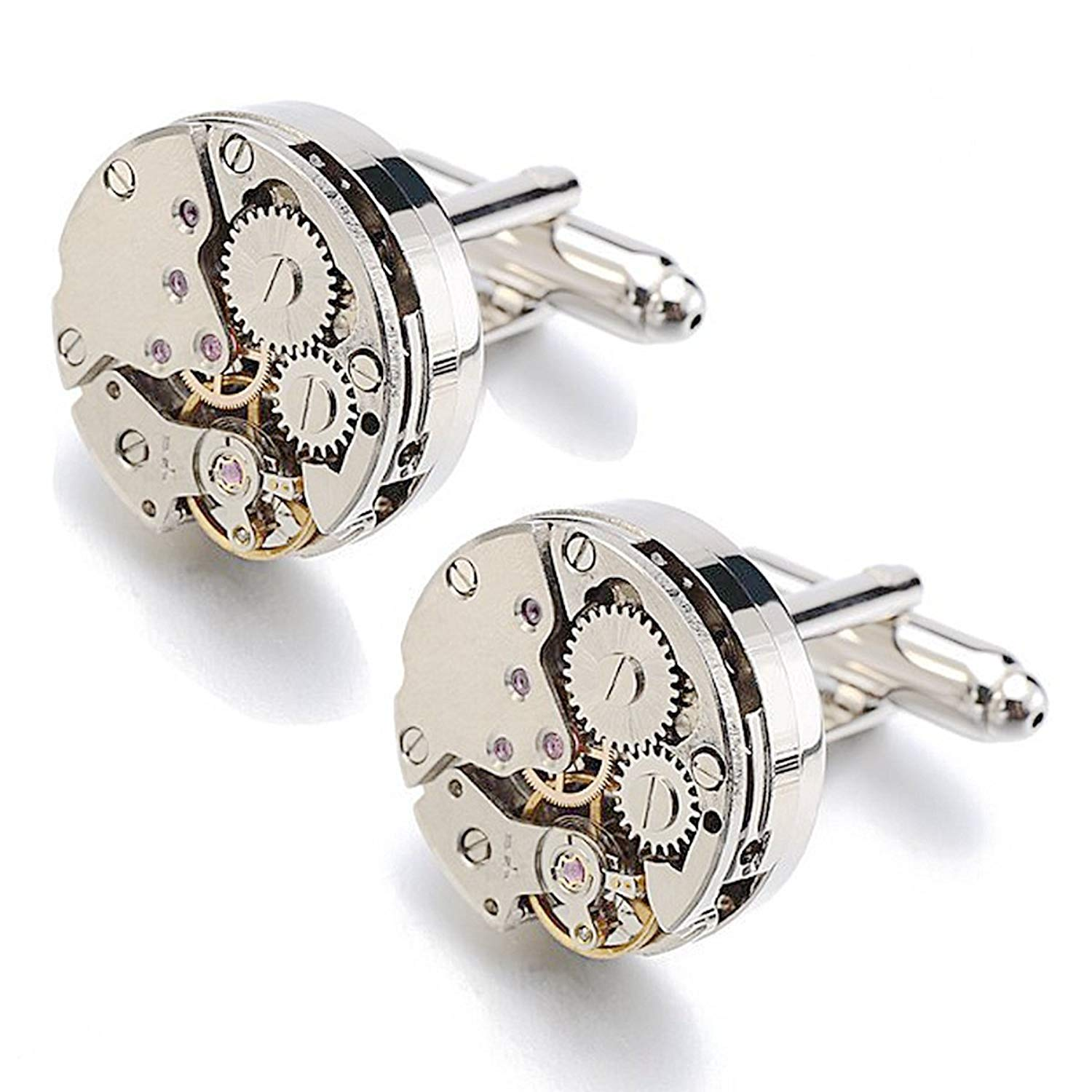 RXBC2011 Upgraded Version Deluxe Steampunk Watch Mens Vintage Watch Movement Shape Cufflinks Come in an Elegant Storage Display Box (with GIFTBOX)