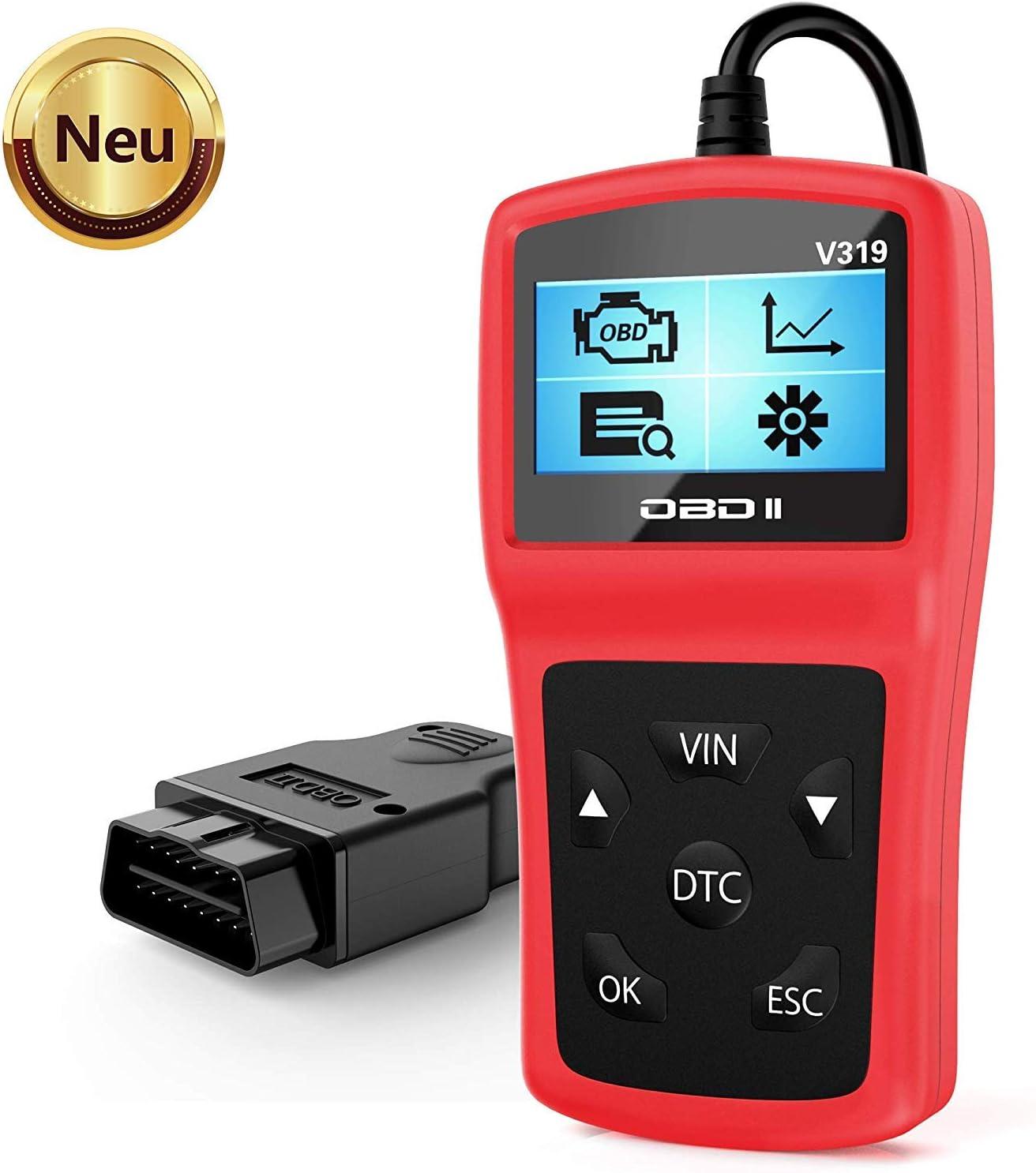 Tesecu Coche diagnósticos OBD2, Diagnóstico Automático Escáner, escáner Lector de código de Falla, Herramienta de diagnóstico automático para probar Sistemas de Motores