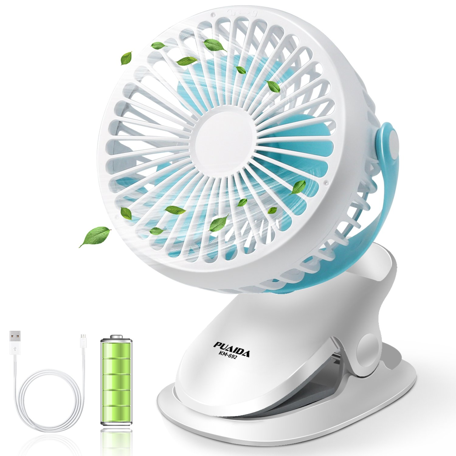 PUAIDA Clip on Stroller Fan, Battery Operated Portable USB Rechargeable Desk Fan with 2500mAh Battery, 3 Speeds and 360 Degree Rotation for Office, Bedroom, Outdoor Camping