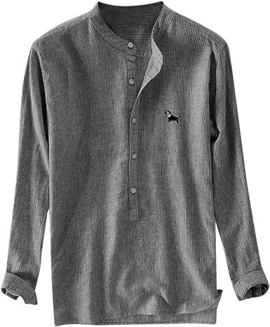 Camisa de Lino Supercool para Hombre, con Botones y Rayas ...