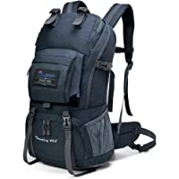 Mountaintop 40 Liter Hiking Backpack for Outdoor Camping with Rain Cover-5812II (Black2)