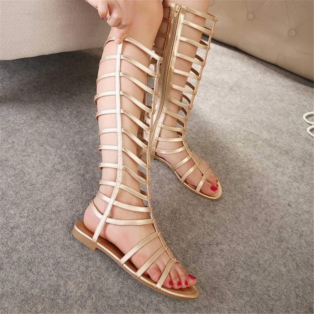 BZBZBZ Ginocchio Fredda Boot Open Toe Hollow Zipper Roma Dress Sandals EU Formato 35-40 Golden