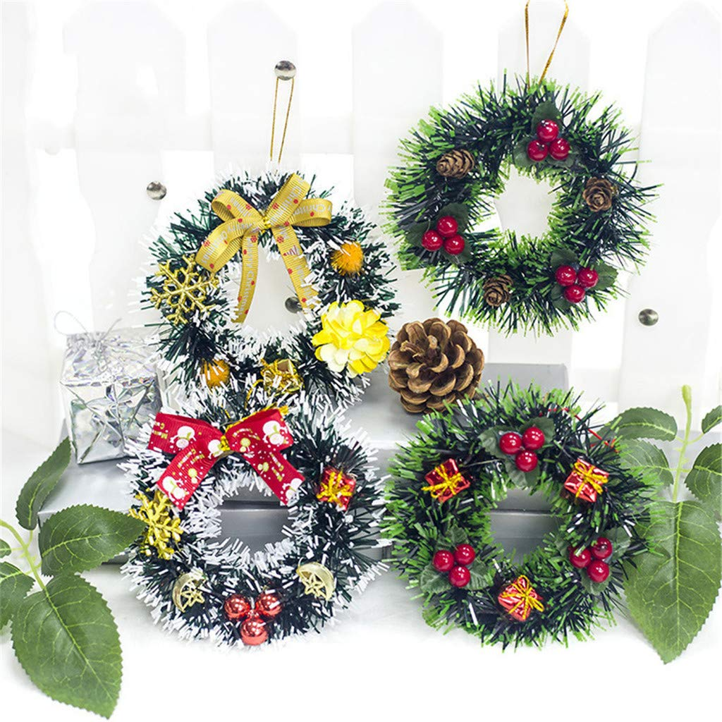 Pendenti per Albero di Natale Confezione da 4 Piccole ghirlande ToDIDAF Decorazione per la casa 12 /× 12 cm Decorazione per Feste
