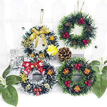 Small Christmas Wreaths.Pack Of 4 Mini Christmas Wreath With Pinecone Handmade Small