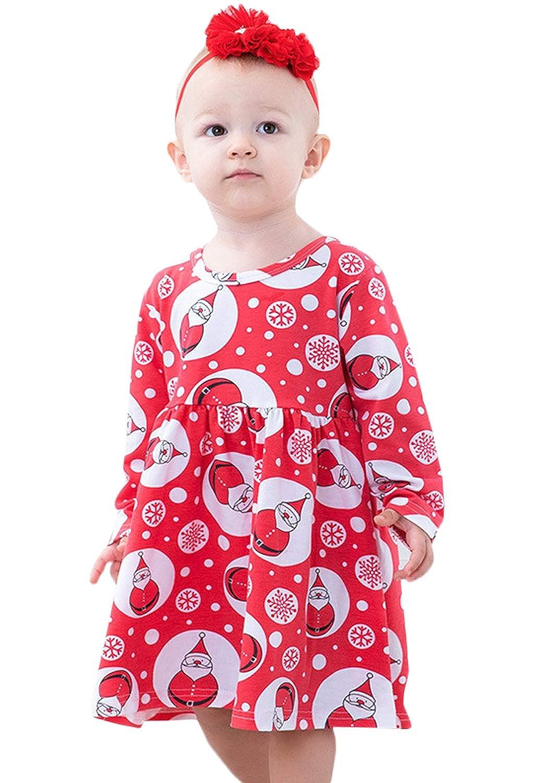 Newborn Infant Baby Girl Christmas Car Print Christmas Costume Long Sleeve Tutu Dress Outfits Clothing Set
