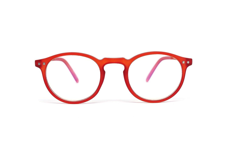 FEEGOO Occhiali da Lettura Readers Uomo/Donna Unisex Graduati + 3.0 Diottrie Modello 4 Rotondi Piccoli Montatura Super Leggera Sottile Colore Red