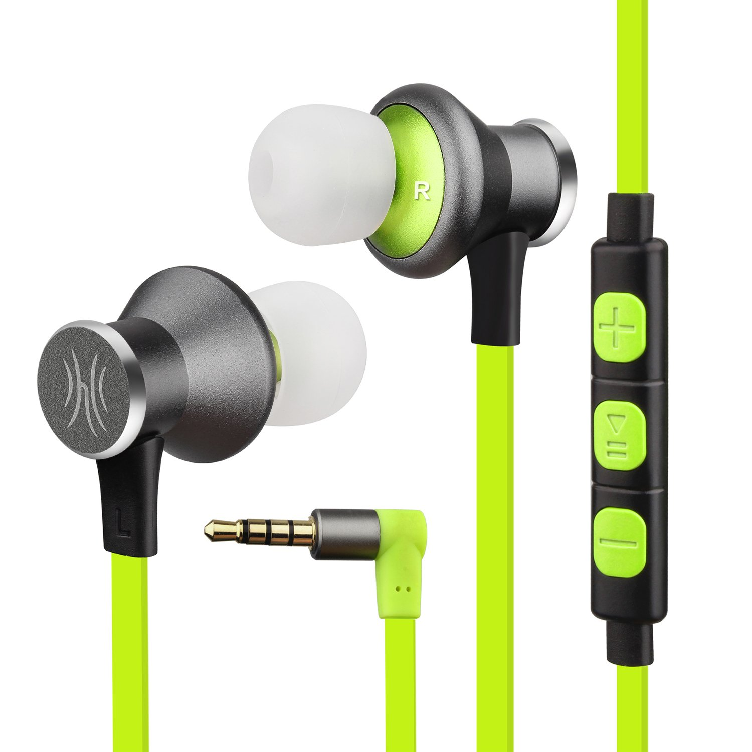 OneOdio Sports Earbuds in-Ear Headphones with Mic – Magnetic Wired Earphones, Tangle Free Sweatproof Headsets for Running/Gym/ Exercise. (Fluorescent Green)