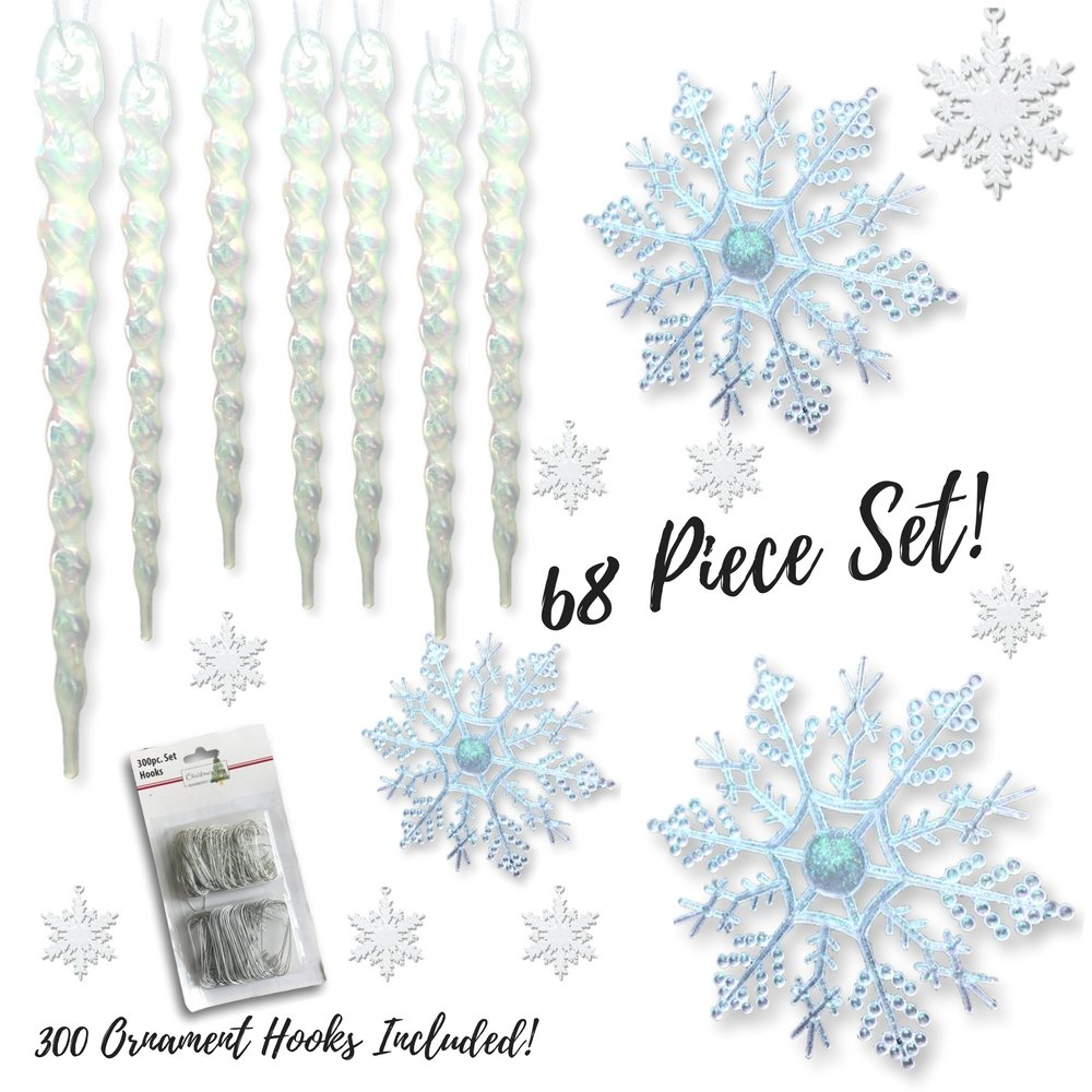 Snowflake and Icicle Ornament Set – Pack of 68 Assorted Christmas Ornaments – 24 Clear Snowflakes – 32 Mini White Glitter Snowflakes – 12 Clear Icicles – Large Set of Ornaments