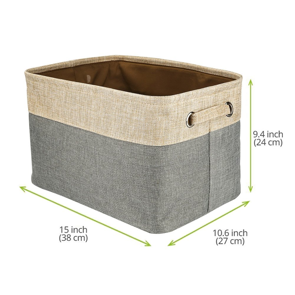 Walsilk Storage Bin Baskets,Foldable Canvas Fabric Tweed Storage Cube  Basket Bin Organizer Set,for Nursery, ...