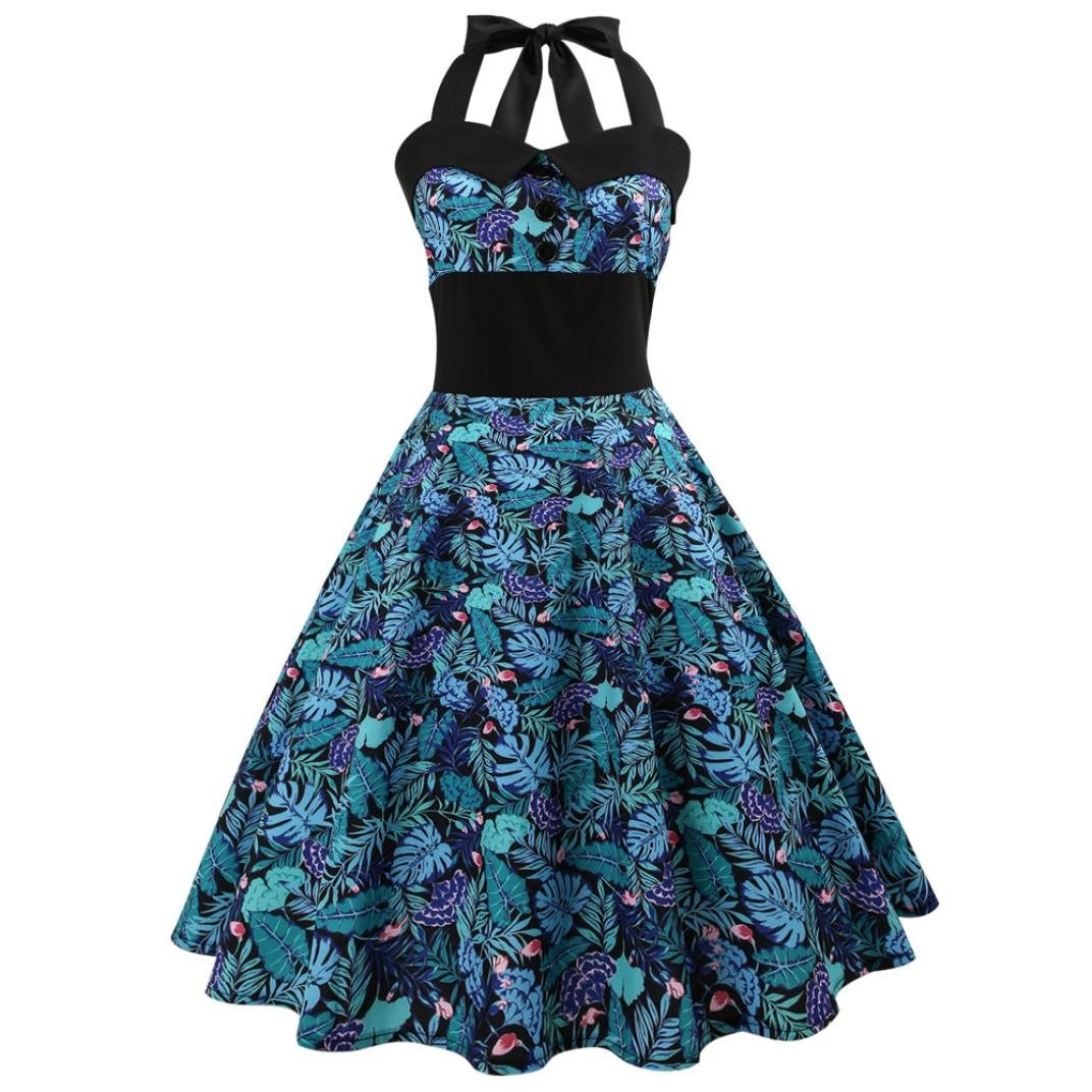 967996a5720c Top1: DongDong Hot Sale! Lady Dress Sleeveless Halter Vintage Printing  Bodycon Evening Party Prom Swing Dress