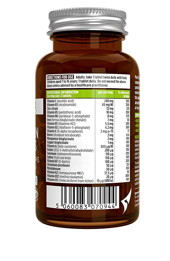 Complejo Multivitamínico Pure & Essential, 22 vitaminas y minerales en forma activa y cuidadosamente seleccionados, para hombres, mujeres y niños a ...