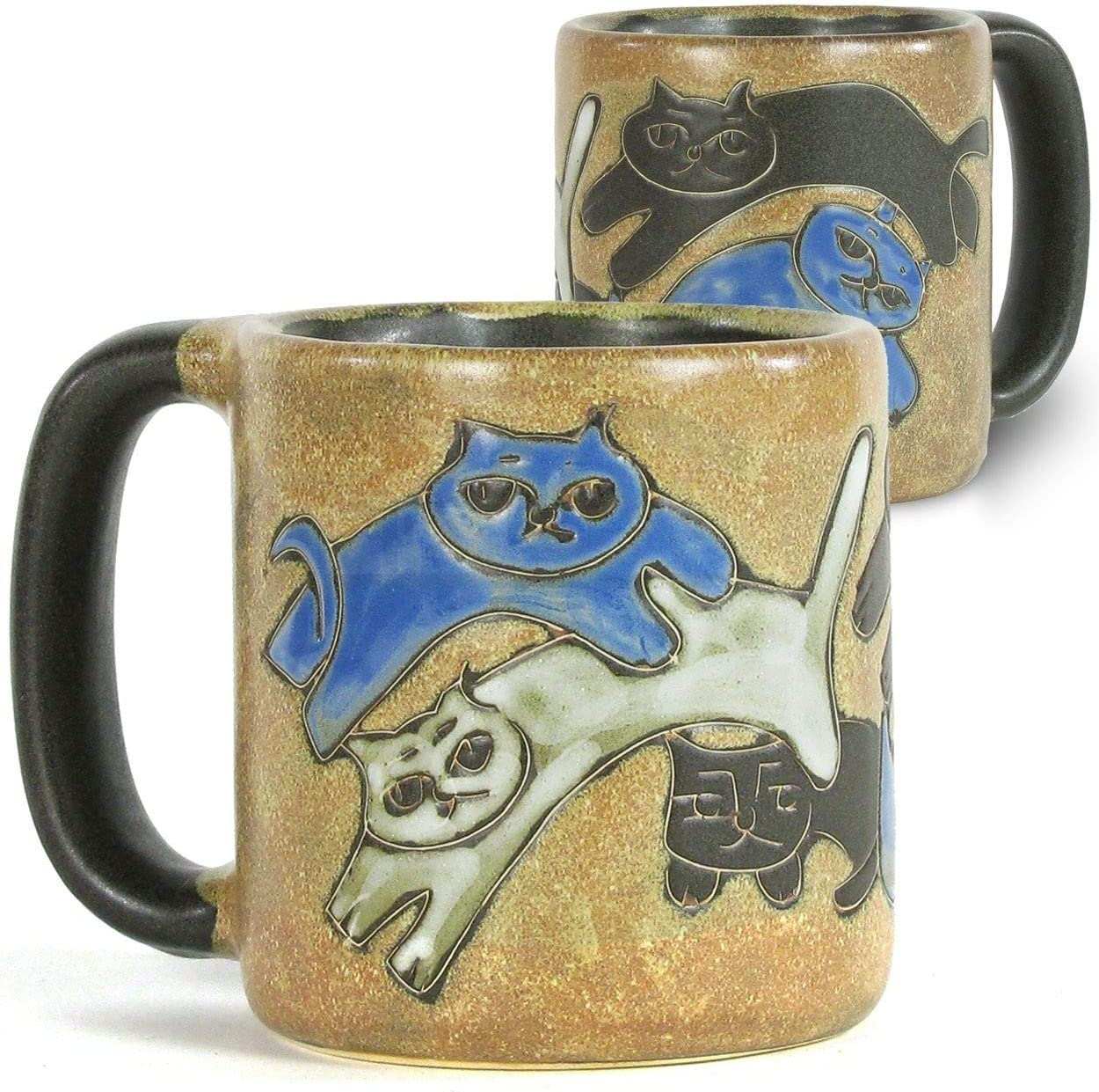 One (1) MARA STONEWARE COLLECTION - 16 Oz Coffee Or Tea Cup Collectible Dinner Mug - Kitten Kitty Cat Design