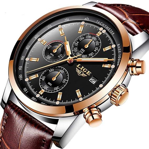 Relojes Hombre LIGE Moda Cronógrafo Deportivo Analógico Cuarzo Reloj Hombre Lujo Impermeable Cuero Marrón Reloje de