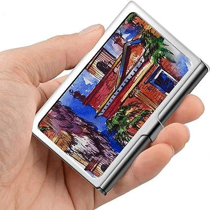 Arte colorido Pintura al óleo arquitectónica Estuche para tarjetas personales de viaje Portatarjetas de viaje Profesional Metal 3.81x 2.7 X 0.29 pulgadas Portatarjetas de metal: Amazon.es: Oficina y papelería