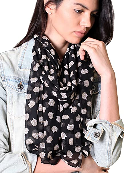 84a1e474f89ce Anika Dali Women's Cute Meow Cat Print Scarf, Black, Silky Soft, Sheer,  Pretty, Cat Gift at Amazon Women's Clothing store: Fashion Scarves