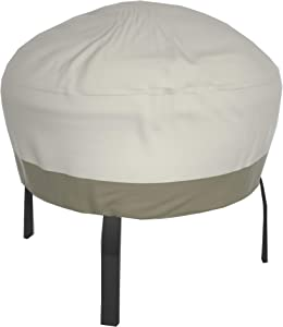 Wisteria Lane Patio Fire Pit Cover - Durable Waterproof Dustproof Veranda Outdoor Round 44 inches Fireplace Cover,(Beige & Brown)