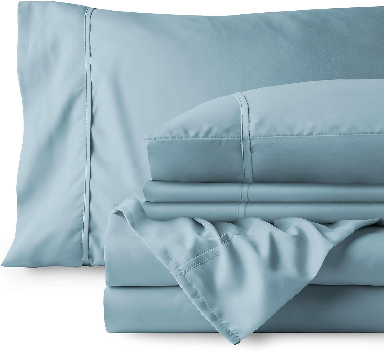 Bare Home Bedding Bundle - 6 Piece Microfiber Sheet Set with 4 Pillowcases (Queen, Light Blue)