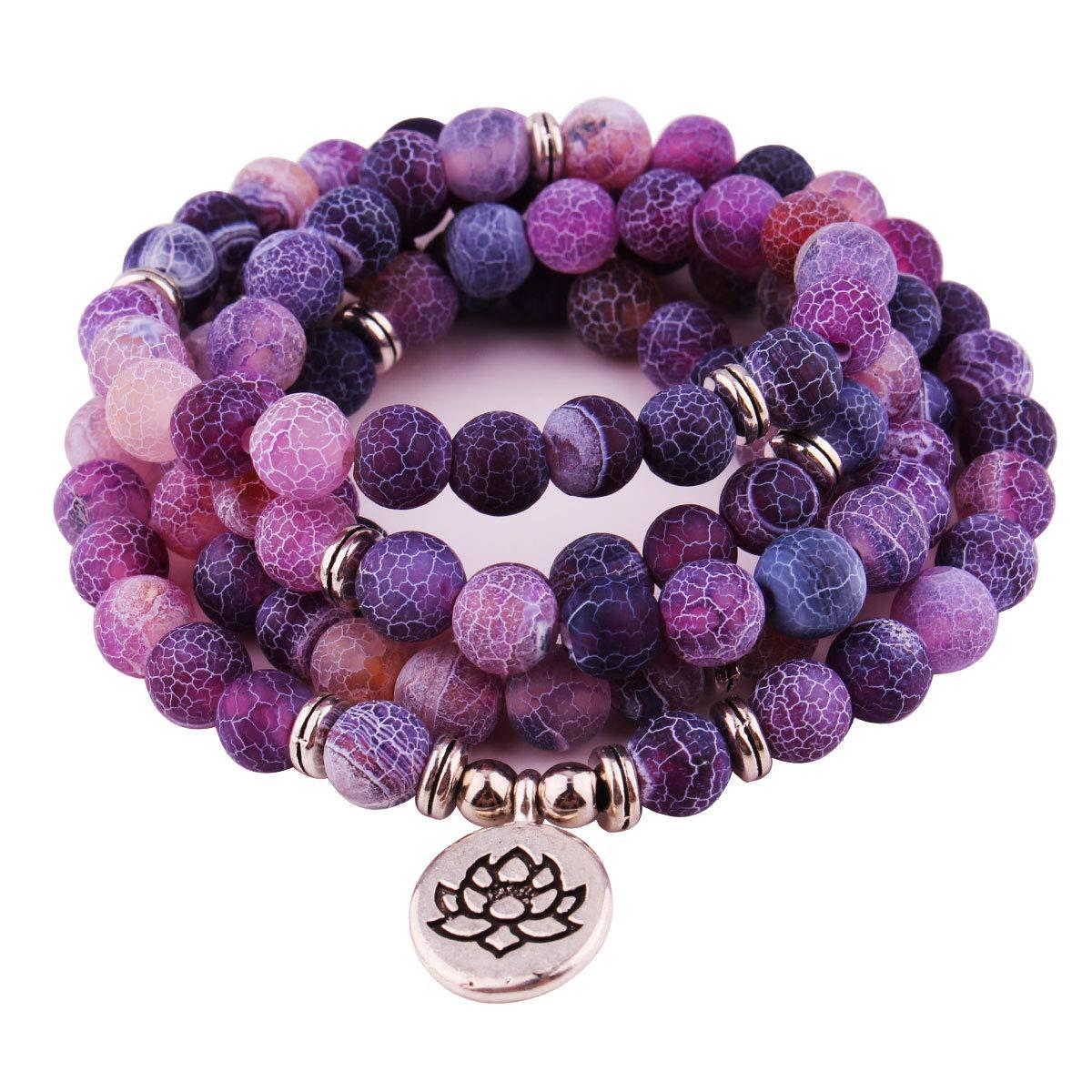 GVUSMIL 8mm 108 Mala Beads Wrap Bracelet Necklace for Yoga Charm Bracelet Natural Gemstone Jewelry for Women Men (Purple Weathered Stone) by GVUSMIL