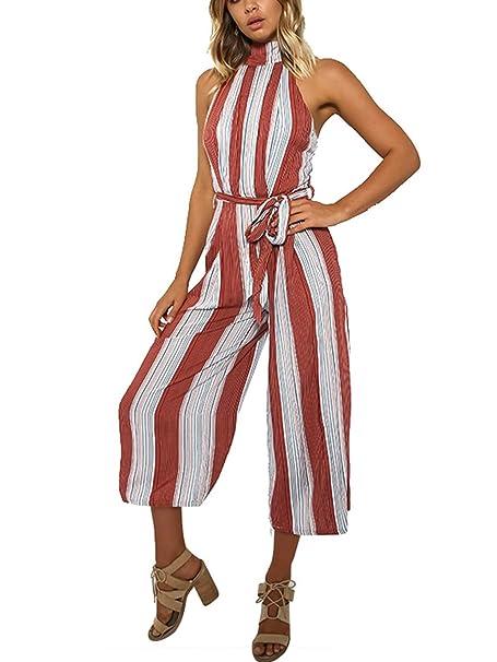 241472486be Missy Chilli Women s Stripe Halter Neck Sleeveless High Waist Wide Leg  Jumpsuit (Red