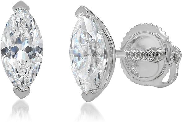 Crystal Stud 1.0ct Moissanite Heart Cut Solitaire Stud Earrings in Solid 14k Rose Gold Screw Back Earring Minimal Minimal Earring
